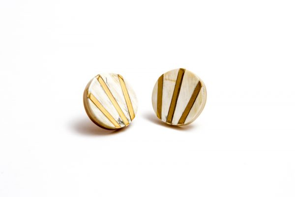 Horn and brass ear studs