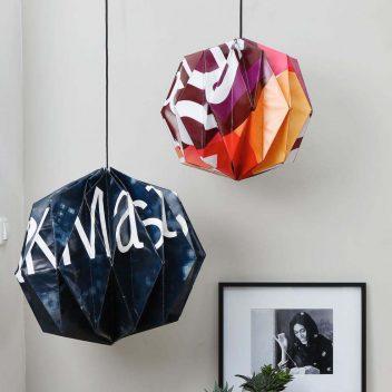 WasteStudio Amber origami lampshades