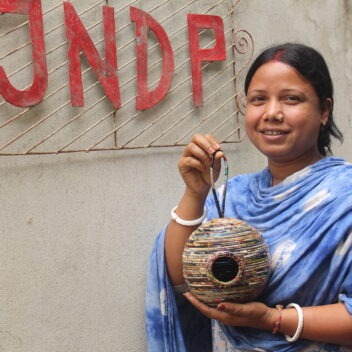 JNDP Crafts - Artisan with Birdhouse