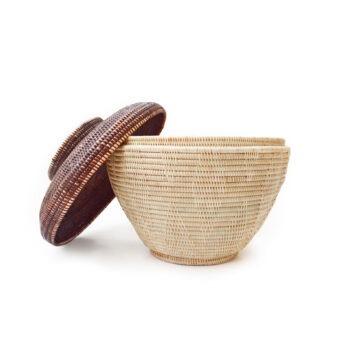 MANAVA - chakachan basket natural burgendy hand-woven rattan