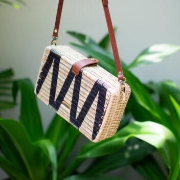 MANAVA - rectangular - crossbody bag - syuti geo - handwoven - rattan