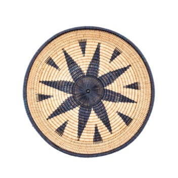 MANAVA - zarava tray platter basket indigo-blue hand-woven rattan