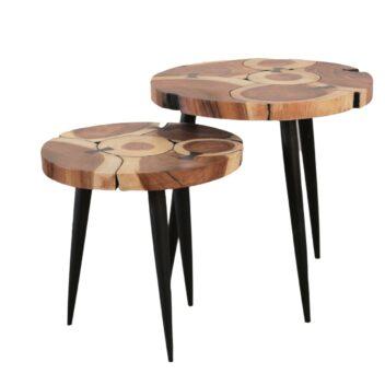 Sentana Art Wood - Round Ribbon End Table Set
